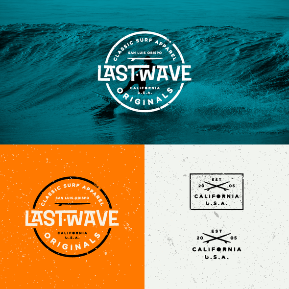 Skate logo with the title 'Retro Surf Logo for Last Wave'
