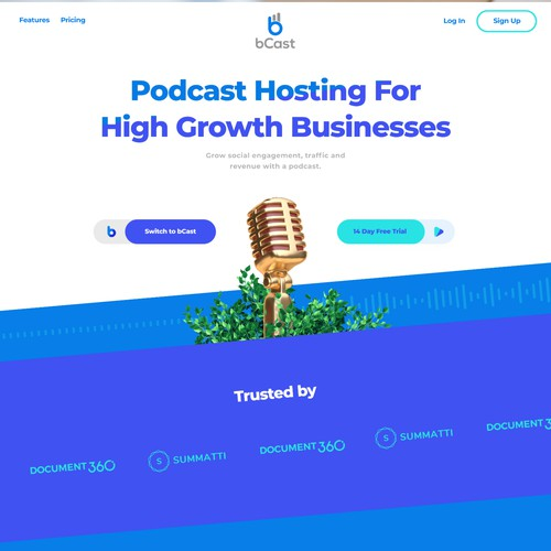 Podcast website with the title 'Website design for a Growth oriented podcast host'
