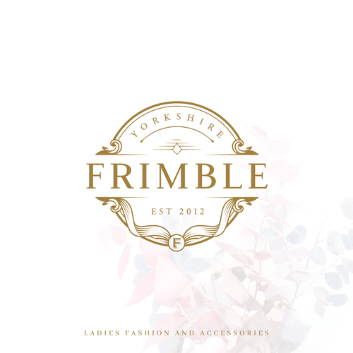 Gold circle logo with the title 'Logo concept for ladies fashion and accessories'