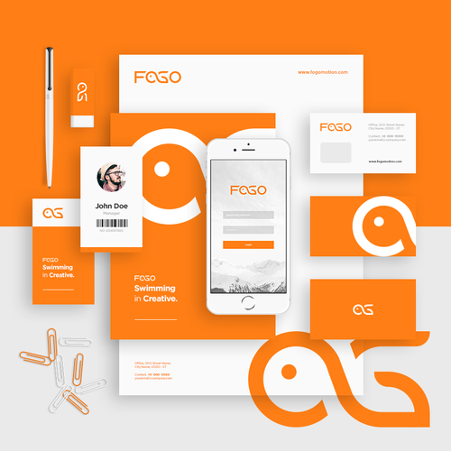 Stationery logo with the title 'Hidden Fish Logo + Brand Identity Pack'