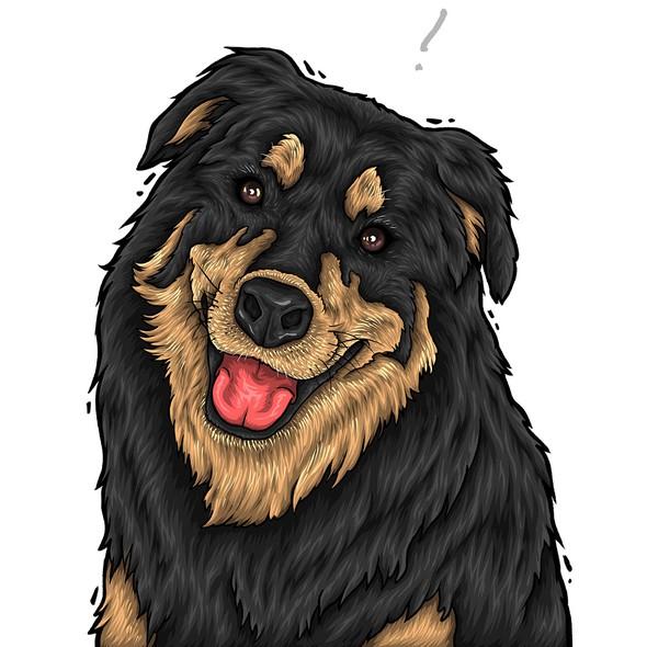 Portrait artwork with the title 'Dog illustration'