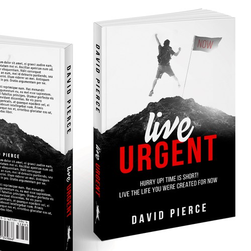 Black and white book cover with the title 'Design a cover for a life-changing book'