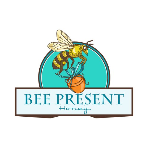 Pot design with the title 'Bee Present Honey'