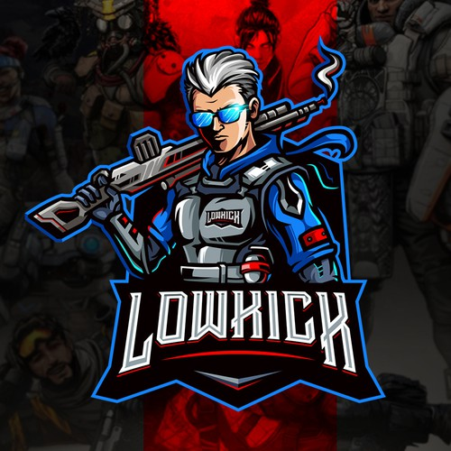 Esports logo with the title 'LowKick'