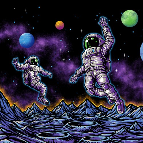 Cyber design with the title 'Happy Astronaut'