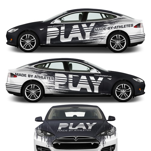 Tesla design with the title 'Tesla wrap for PLAY fitness'