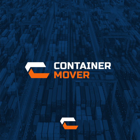 Orange and blue design with the title 'Container Mover'
