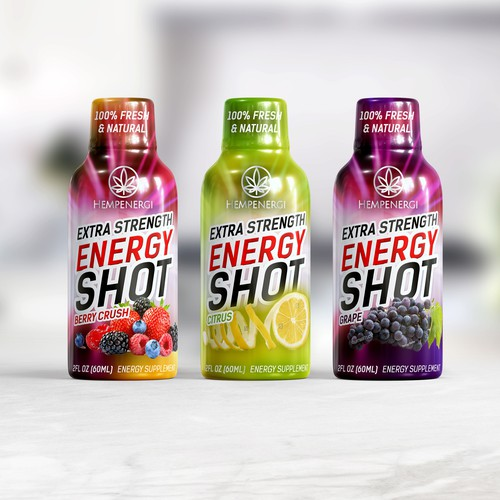 Energy drink design with the title 'Wrapped label design for energy shot drink'