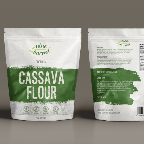 Product design with the title 'Create  packaging for premium gluten  flour'