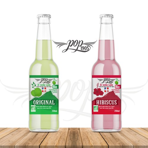 Soda label with the title 'Logo & Label design for organic soda brand'