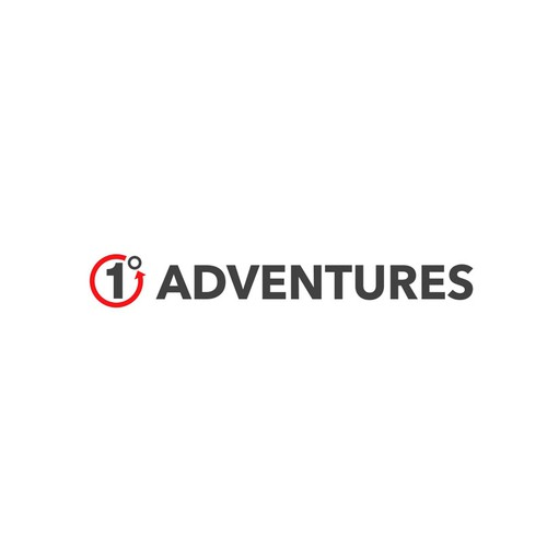 Red and gray design with the title 'Logo for adventures!'