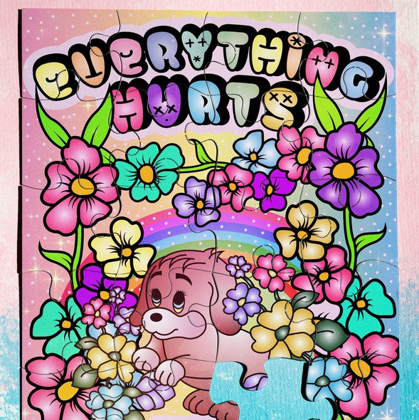 Cute dog design with the title 'Everything Hurts and I'm Dying Puzzle Design'