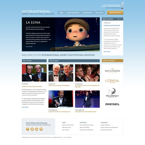 Celebrity design with the title 'Film / Movie Production Festival Event Web Design'