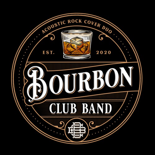 Hand-drawn logo with the title 'Bourbon Club Band'