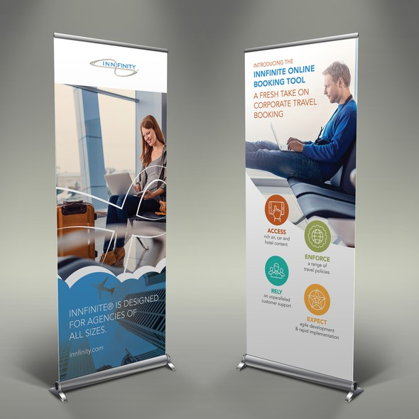 Travel agency design with the title 'Innfinity Rollups'