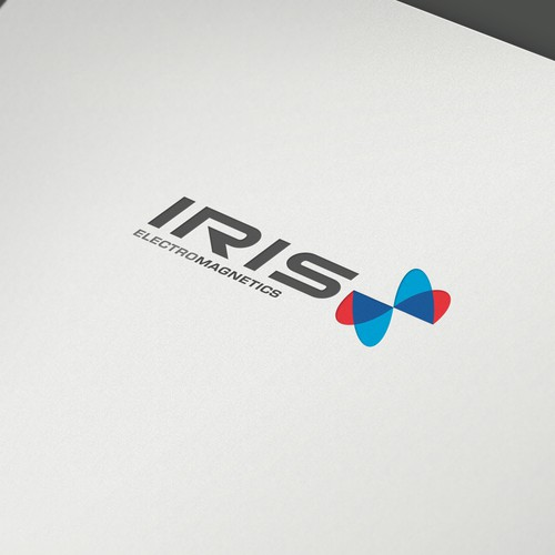 Blue and gray logo with the title 'iris'