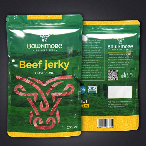 Jerky packaging with the title 'Beef jerky'