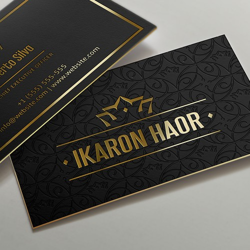 Black design with the title 'Luxurious business card design'