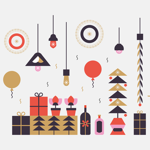 Winter design with the title 'Christmas party illustration'