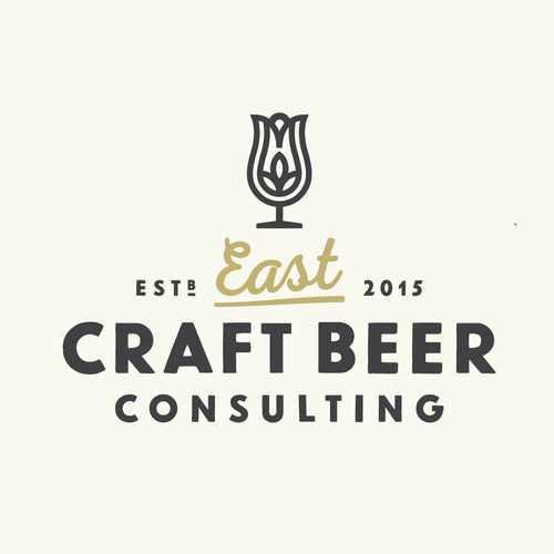 Orange and gray design with the title 'Craft Beer Consulting Logo'