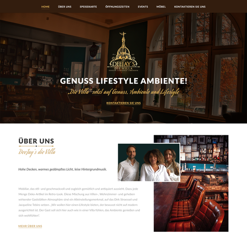 Restaurant website with the title 'Elegantes design für DeeJay's die Villa'