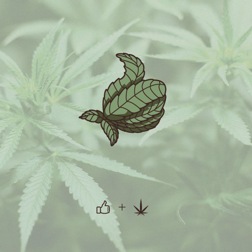 Thumb logo with the title 'Hemp Leaf Thumbs Up'