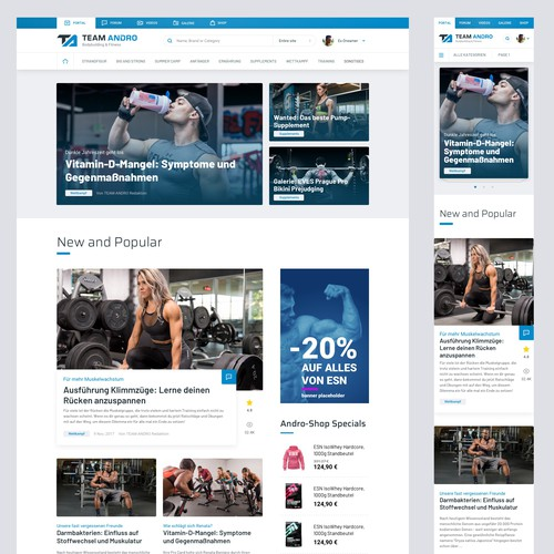 Portal website with the title 'BodyBuilding Portal Concept'