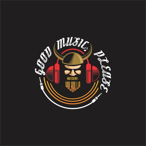 Headphone logo with the title 'good music please, hosted by valhalla'