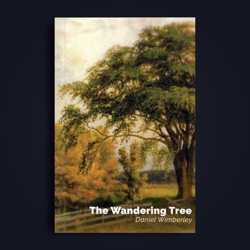 Ancient book cover with the title 'Book Cover for The Wandering Tree'