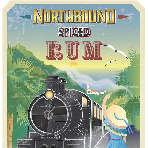 Art Nouveau design with the title 'NORTHBOUND SPICED RUM'
