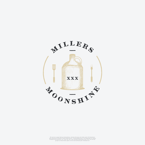 Heavy equipment logo with the title 'Circle logo for Millers Moonshine XXX'