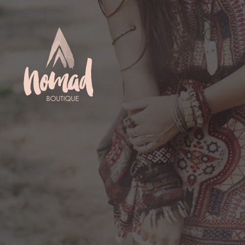 Watercolor brand with the title 'Create a brand identity for Nomad Boutique'
