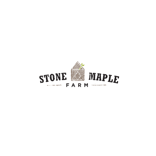 Texture logo with the title 'Organic Eco Friendly Logo For Stone Maple Farm'