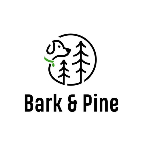 Evergreen logo with the title 'Logo Design for Bark & Pine'
