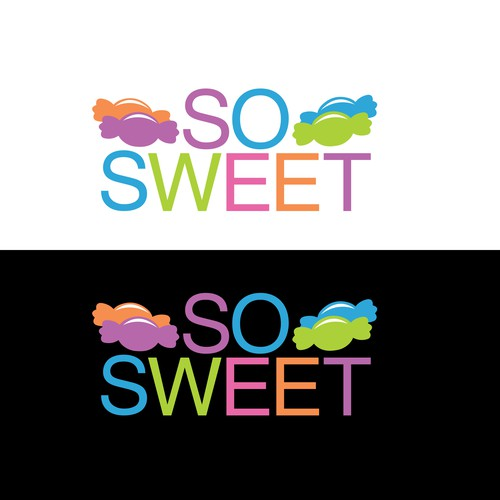 Candy store logo with the title 'Simple Colorful Logo with wrapped candy icons'