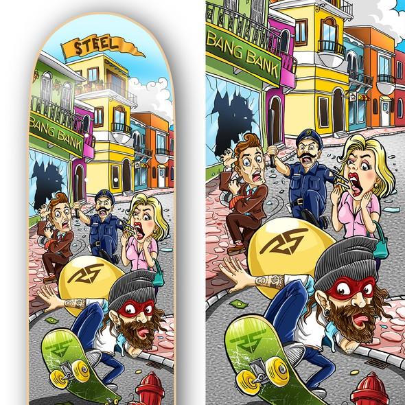 Skateboard artwork with the title 'Steel Skateboard Design'