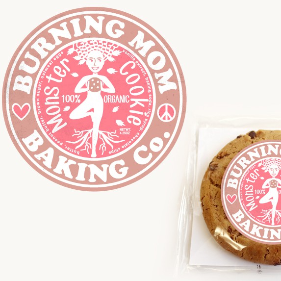Cookie label with the title 'Organic Monster Cookie Logo'