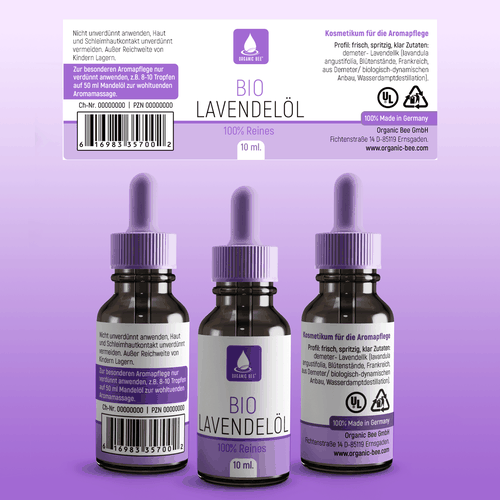 Medical label with the title 'Dropper Lavender'