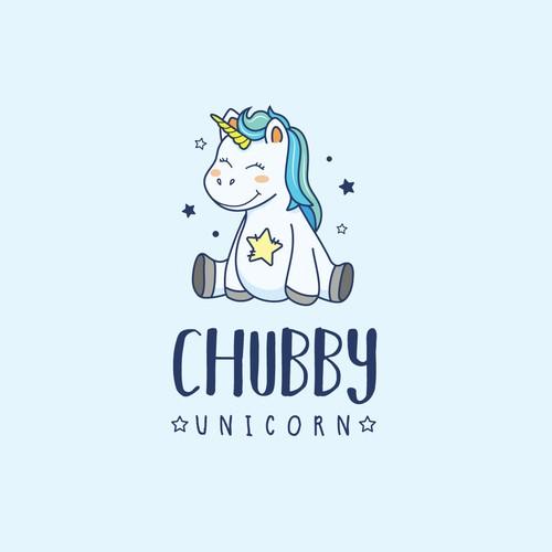 Unicorn logo with the title 'Chubby Unicorn Logo'