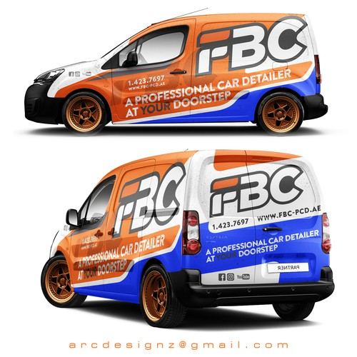 Vehicle graphic design with the title 'Orange and blue combination wrap for for FBC car detailers.'