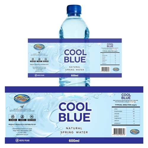 Mineral water design with the title 'Logo for cool blue Australian natural spring water'