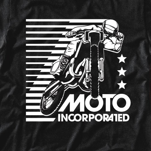 Motocross design with the title 'Vintage Style Moto Inc. T-Shirt Design'