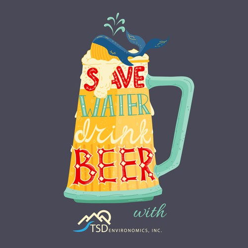 Water t-shirt with the title 'Brewer T-shirt design'