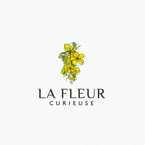 Flower logo with the title 'La fleur curieuse Logo'