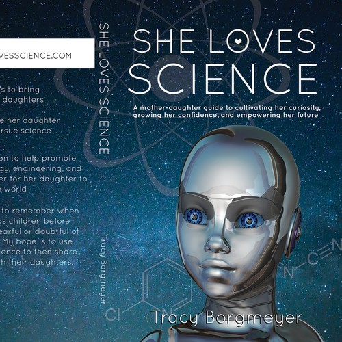 Science book cover with the title 'She Loves Science book cover'