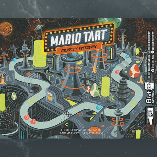 Classic illustration with the title '2nd -mario tart 8bit'
