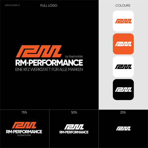 Racing team logo with the title 'RM-PERFORMANCE Logo Konzept'