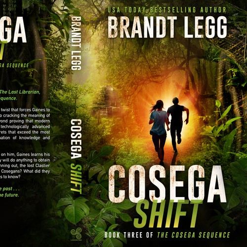 Tropical design with the title 'Cosega Shift - Book Three of The Cosega Sequence'