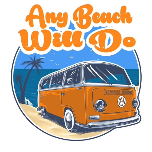 Beach t-shirt with the title 'Create an AWESOME Volkswagen Mens Graphic T-shirt'