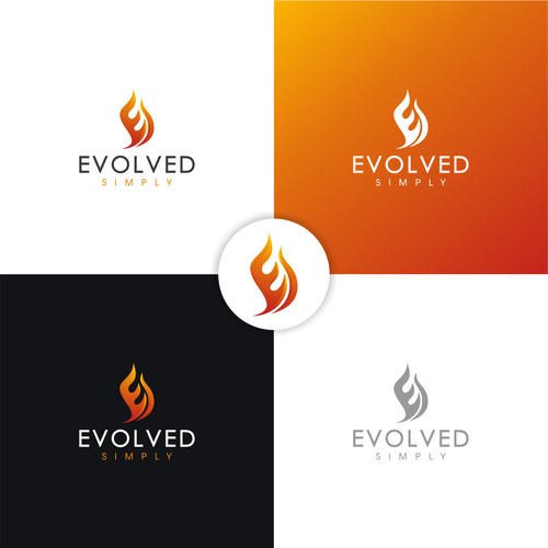 Flaming logo with the title 'EvolvedSimply'